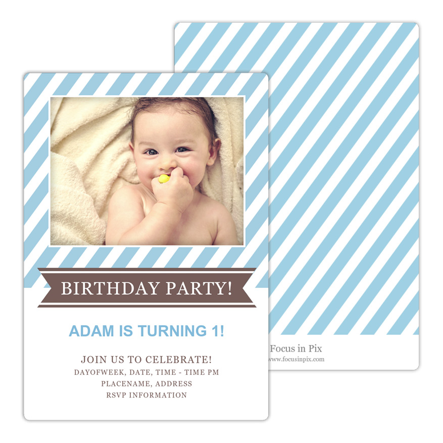 Classic Stripe Birthday Party Invitation