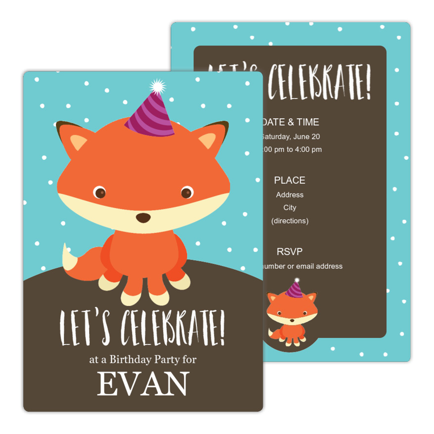 Cute Fox Birthday Party Invitation