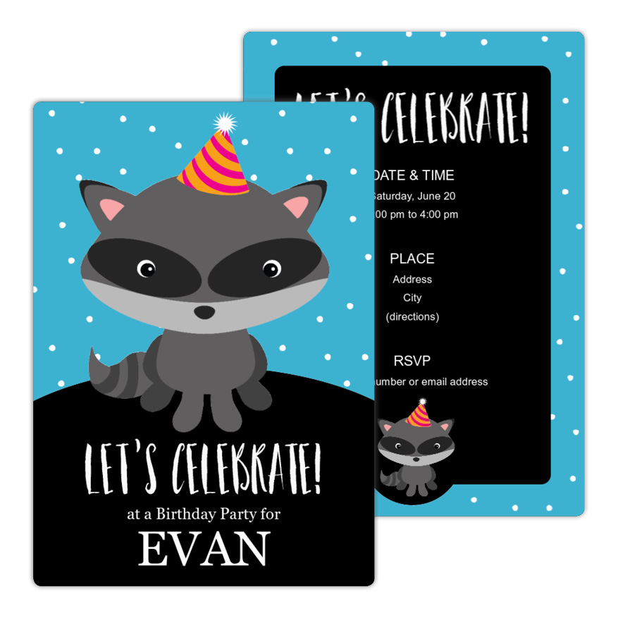 Cute Racoon Birthday Party Invitation