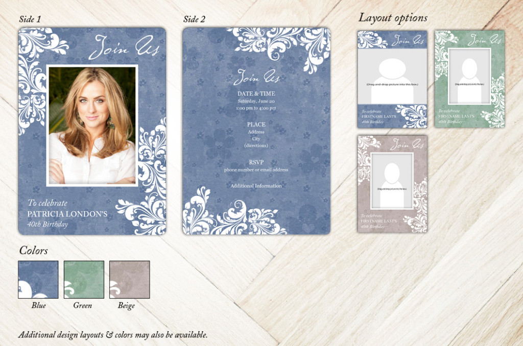 Distressed Flower Motif Birthday Party Invitation from Focus in Pix