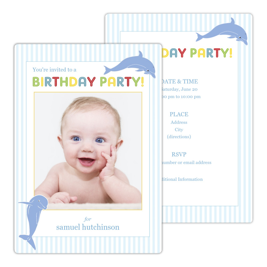 Dolphins Birthday Invitation