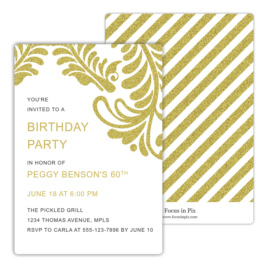 Fleur Scrolls Metallic Birthday Invitation