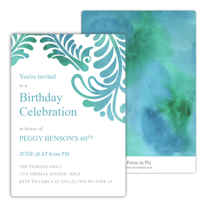 Fleur Scrolls Birthday Party Invitation from Focus in Pix