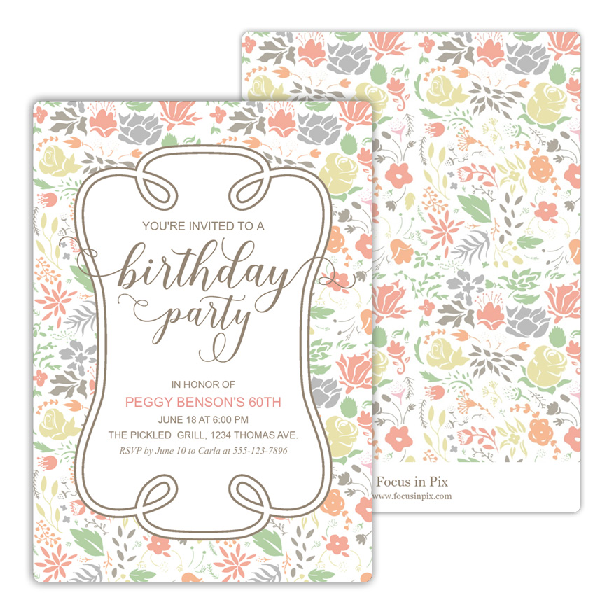 Flower Bouquet Birthday Party Invitation from Focus in Pix