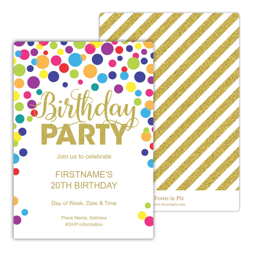 Glitter and Confetti Birthday Party Invitation from Focus in Pix