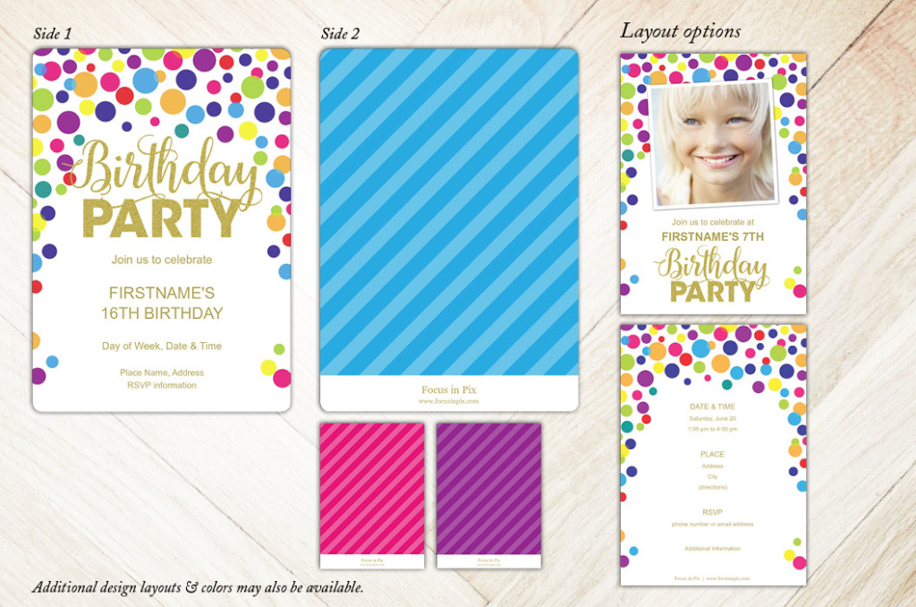 Glitter and Confetti Birthday Party Invitation