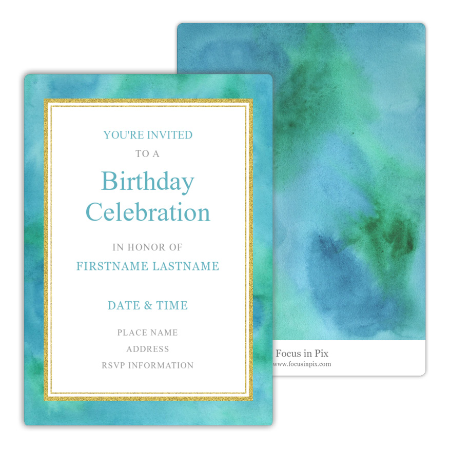 Glittered Watercolor Birthday Party Invitation from Focus in Pix