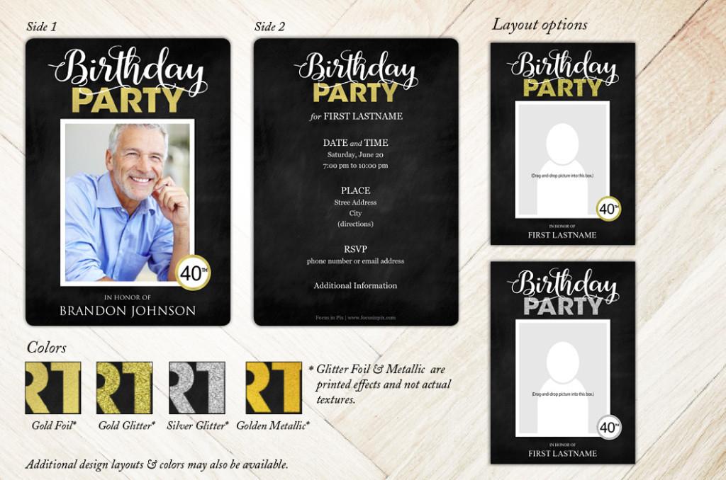 Glitzy Celebration Birthday Party Invitation from Focus in Pix