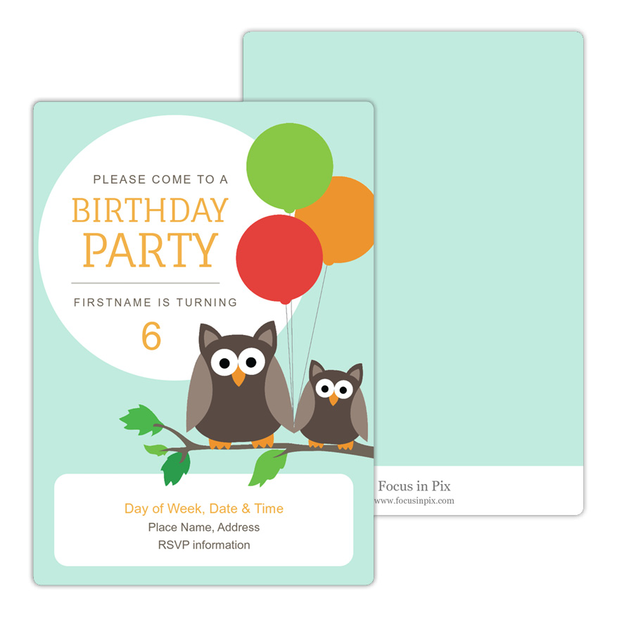 Owls with Balloons Birthday Party Invitation