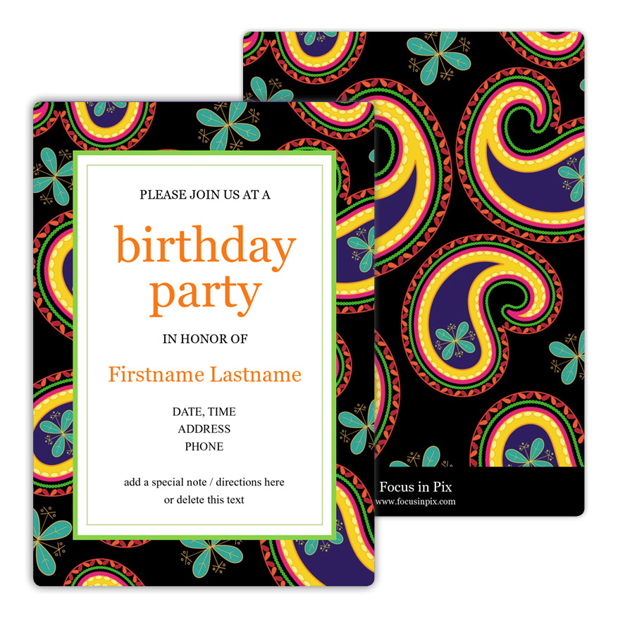 Paisley Party Vivid Birthday Party Invitation from Focus in Pix