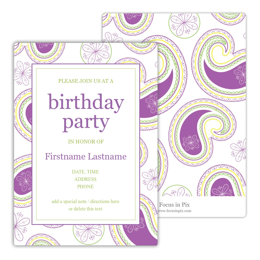 Paisley Party Pastel Birthday Party Invitation from Focus in Pix