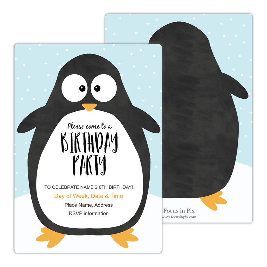 Penguin Party Birthday Party Invitation