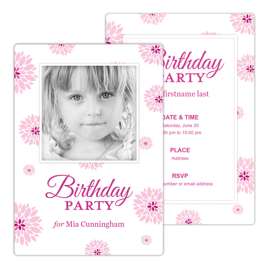 Pretty Peony Flurry Birthday Party Invitation