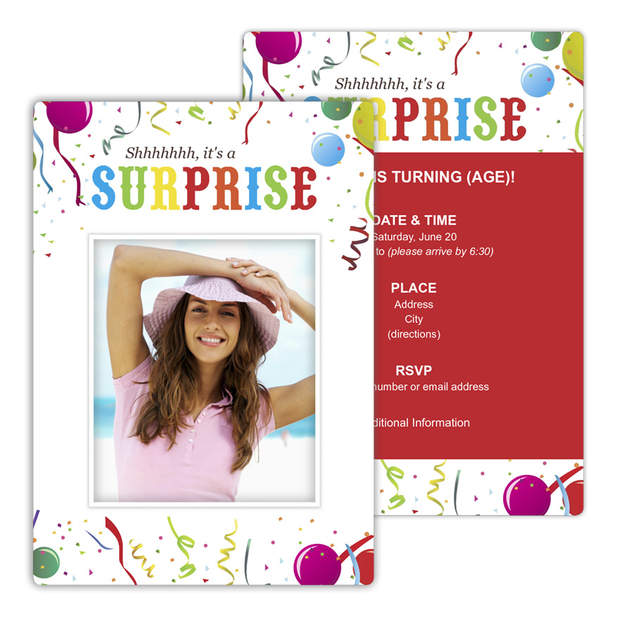 Surprise Celebration Birthday Party Invitation from Focus in Pix