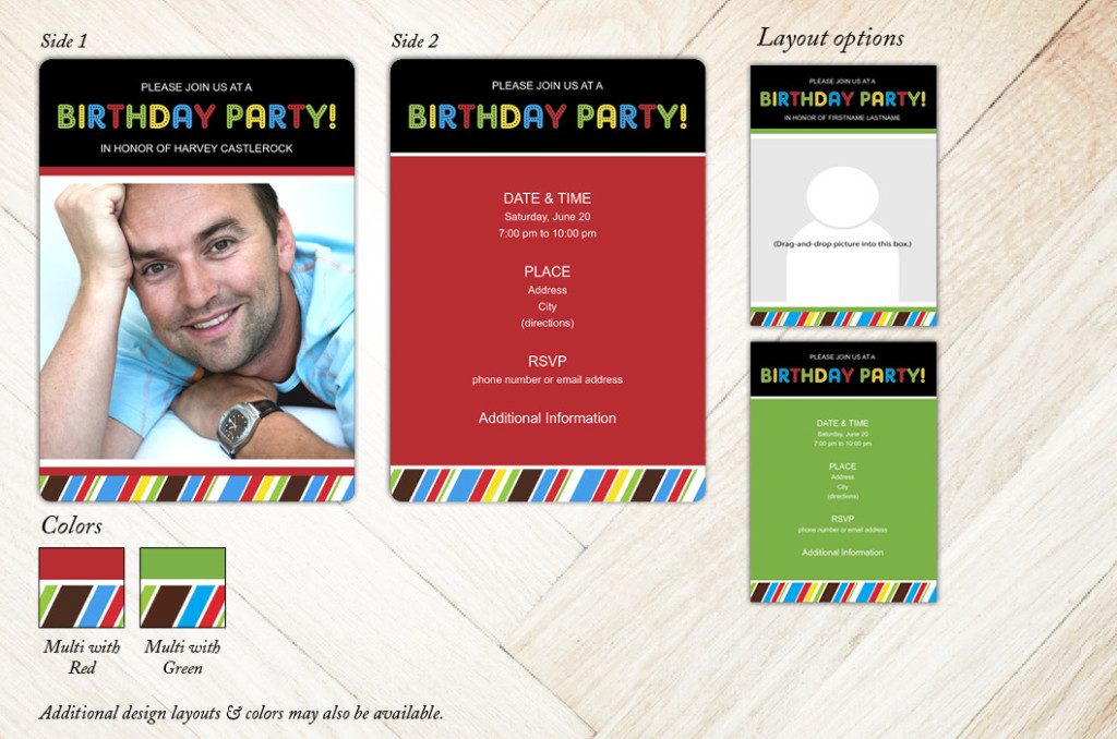 Vivid Stripes Birthday Party Invitation from Focus in Pix
