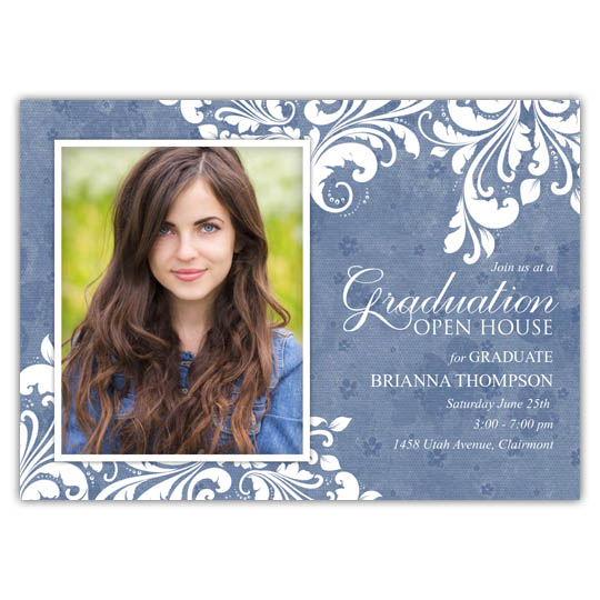 Leaf Motif Distressed Flowers - Focus in Pix Graduation Card