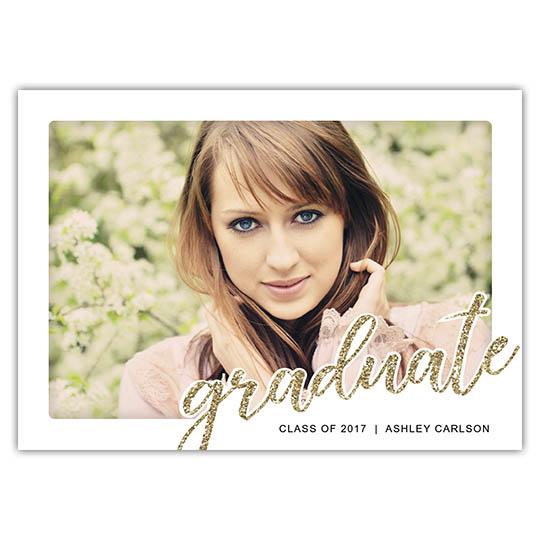 Glittered Graduate, Focus in Pix Graduation Party Invitation or Announcement