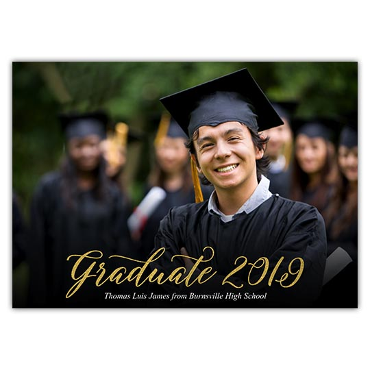 Golden Graduate, Focus in Pix Graduation Party Invitation or Announcement