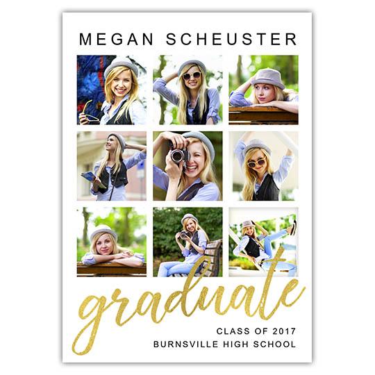 Graduate Grid, Focus in Pix Graduation Party Invitation or Announcement
