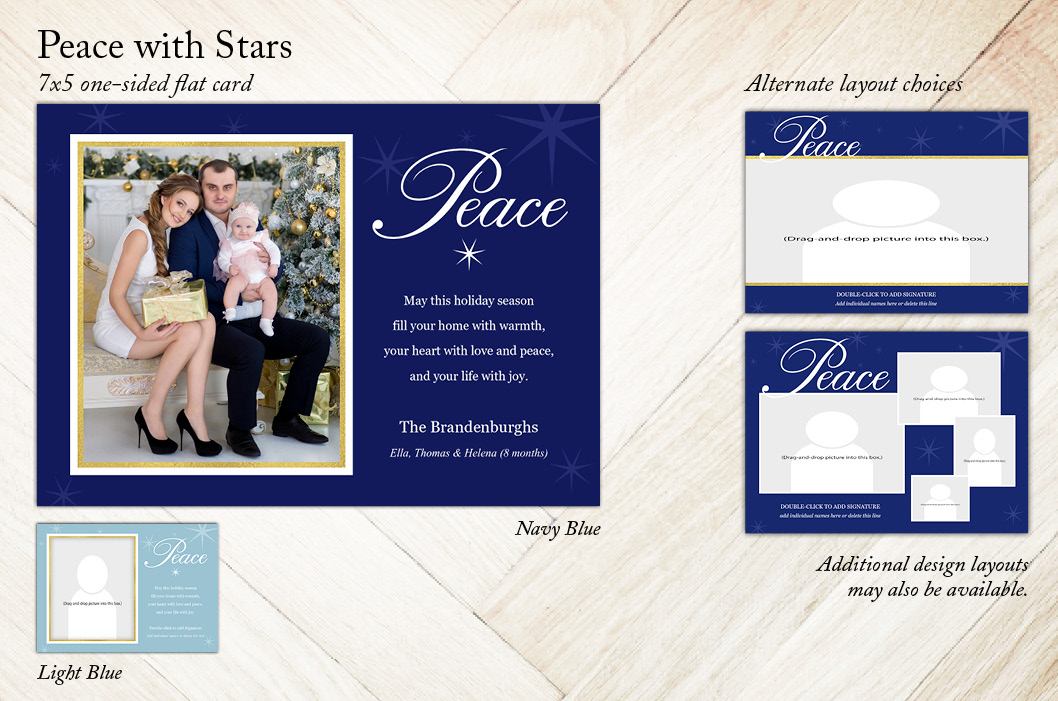 Peace with Stars Holiday Christmas Card