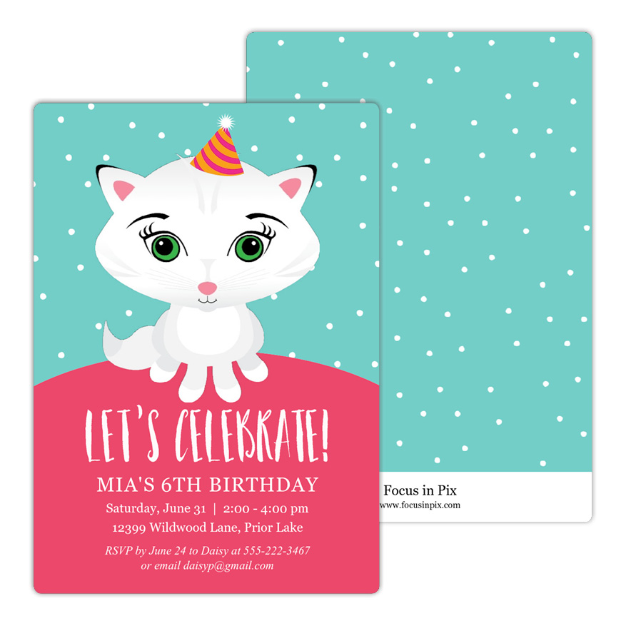 Cute Kitty Birthday Party Invitation
