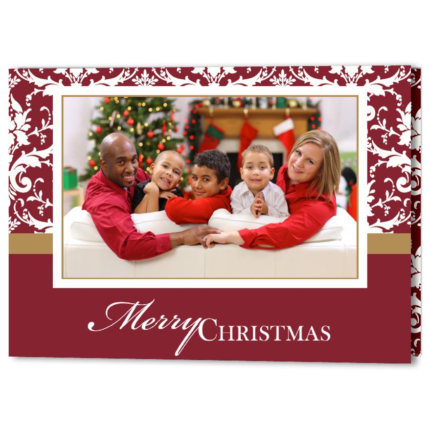 Elegant Damask Christmas Holiday Card