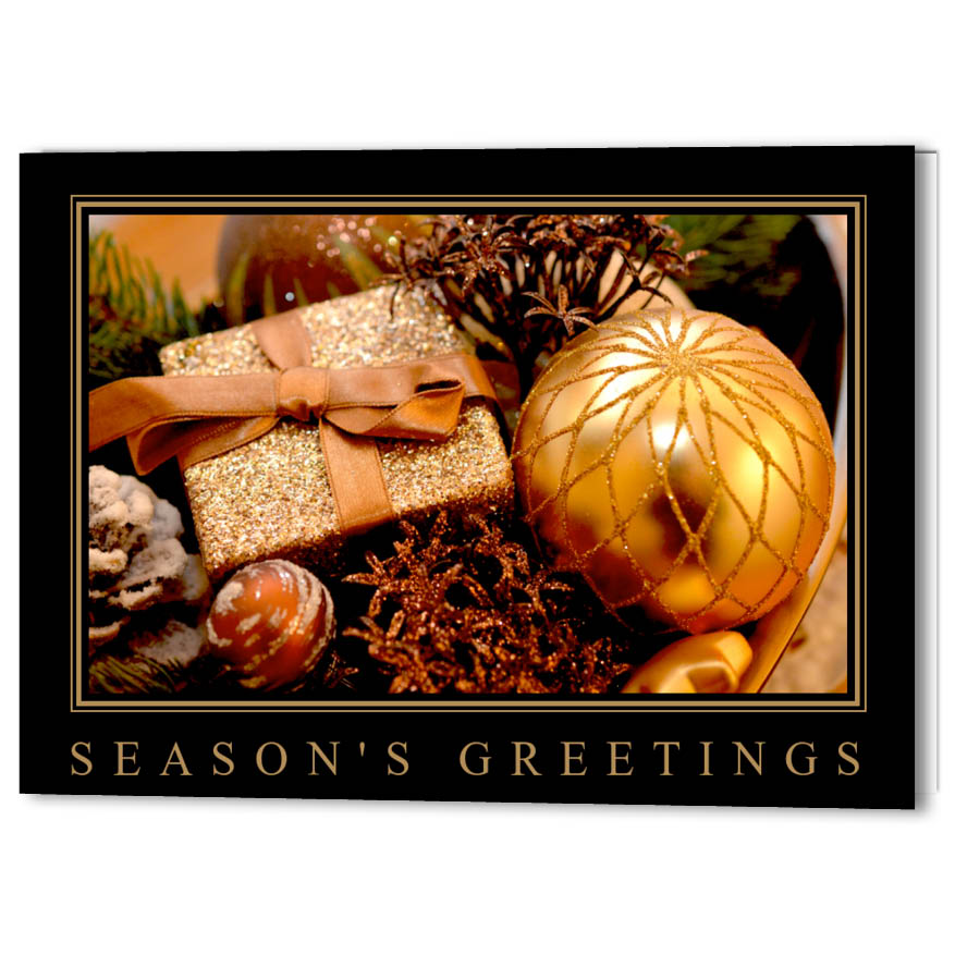 Golden Bauble Holiday Christmas Card