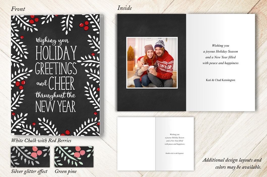 Pines and Berries Holiday Christmas Card