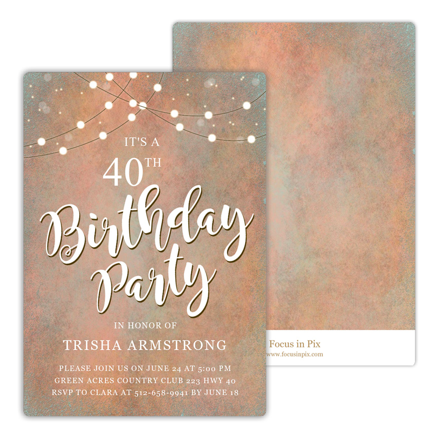 String Lights Birthday Party Invitation from Focus in Pix