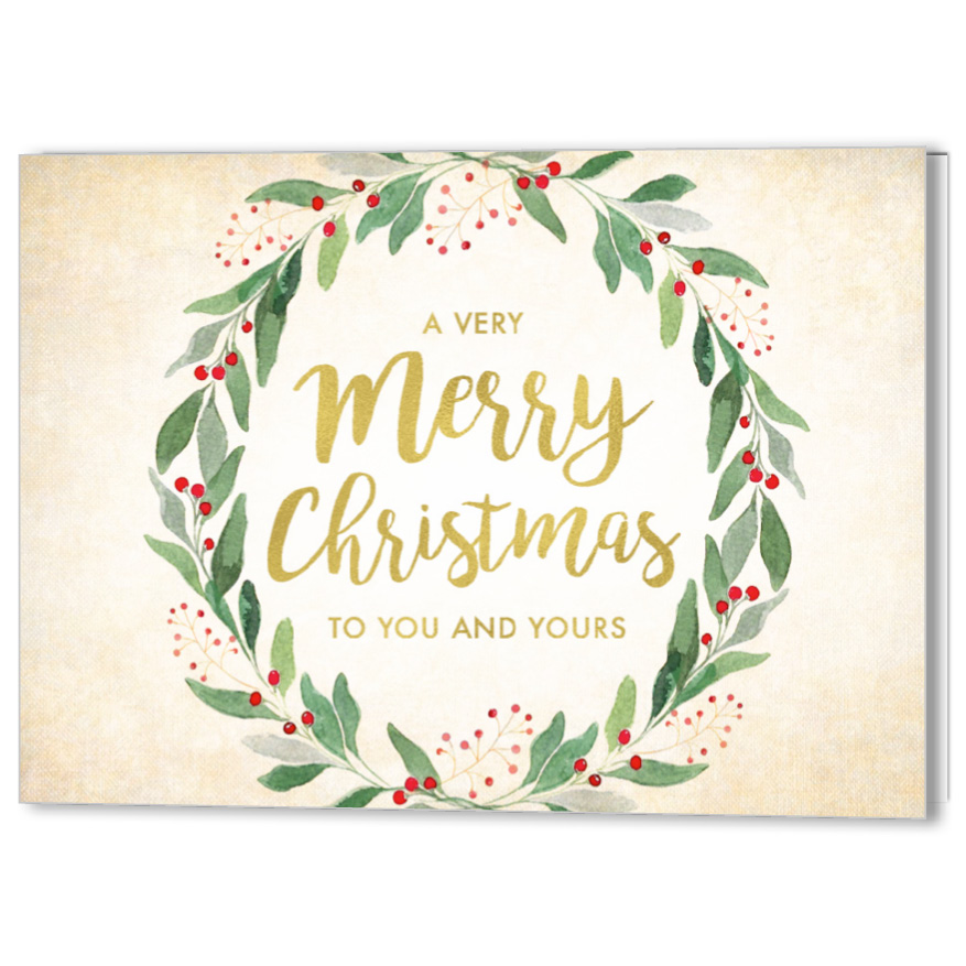 Watercolor Wreath Holiday Christmas Card