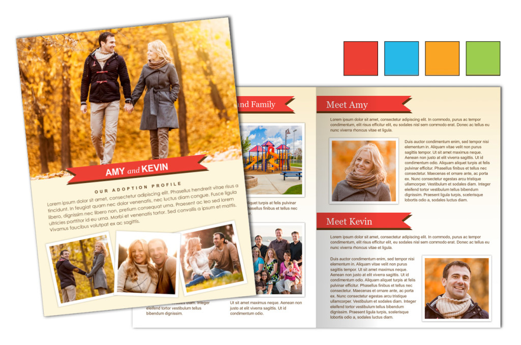 Color Pop Banners: Adoption Profile 4 Page Brochure Letter, Half Fold