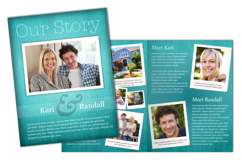 Teal Texture: Adoption Profile 4 Page Brochure Letter, Half Fold