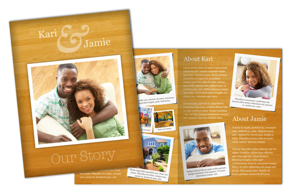 Warm Woodgrain: Adoption Profile 4 Page Brochure Letter, Half Fold