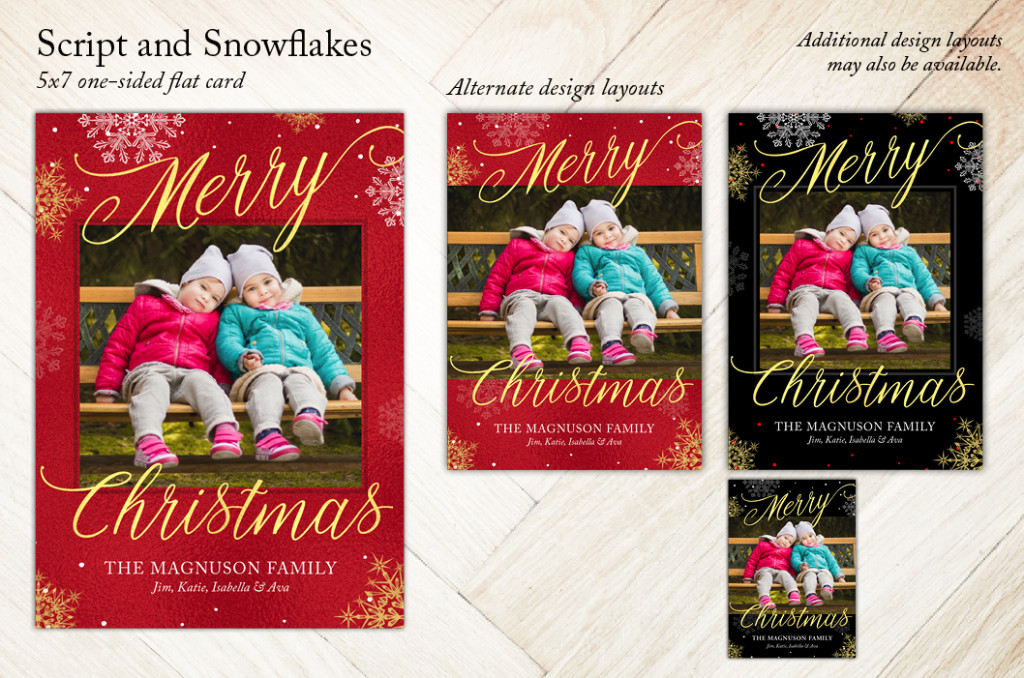 Script and Snowflakes Holiday Christmas Card