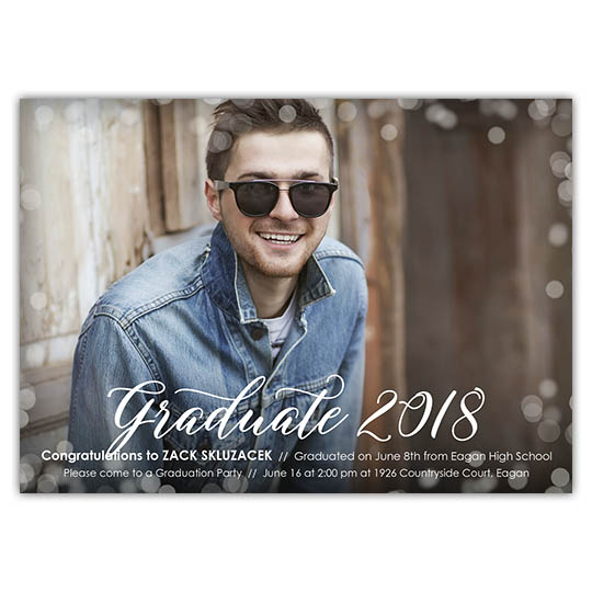 Bokeh Border - Focus in Pix Graduation Party Invitation or Announcement