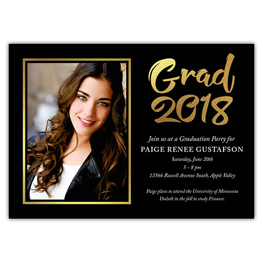 Bold Foil - Focus in Pix Graduation Party Invitation or Announcement