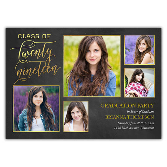 Brilliant Script - Focus in Pix Graduation Party Invitation or Announcement