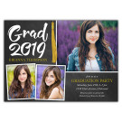 Chalkboard Collage - Focus in Pix Graduation Party Invitation or Announcement