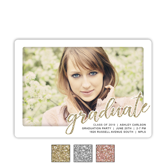 Glittered Script, Focus in Pix Graduation Party Invitation or Announcement