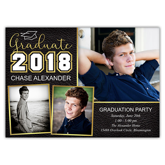 Scripted Cap - Focus in Pix Graduation Party Invitation or Announcement