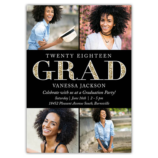 Sparkled Grad - Focus in Pix Graduation Party Invitation or Announcement