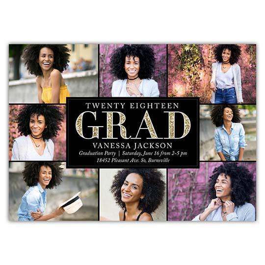 Sparkled Grad - Focus in Pix Graduation Party Invitation or Announcement