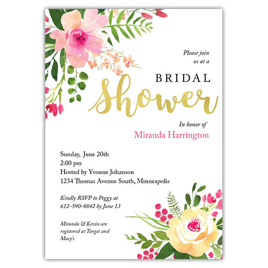 brushed blooms focus in pix customizable bridal shower invitation