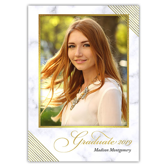 Marbled Elegance - Focus in Pix Graduation Party Invitation or Announcement