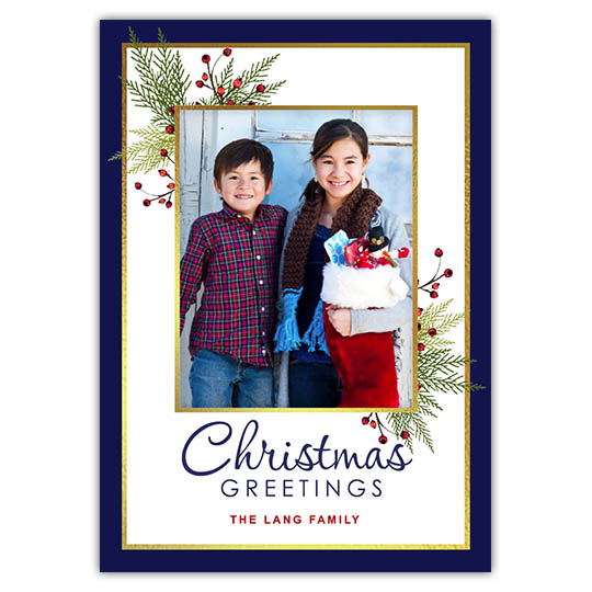 Branches Berries Corners 5x7 Holiday Christmas Card