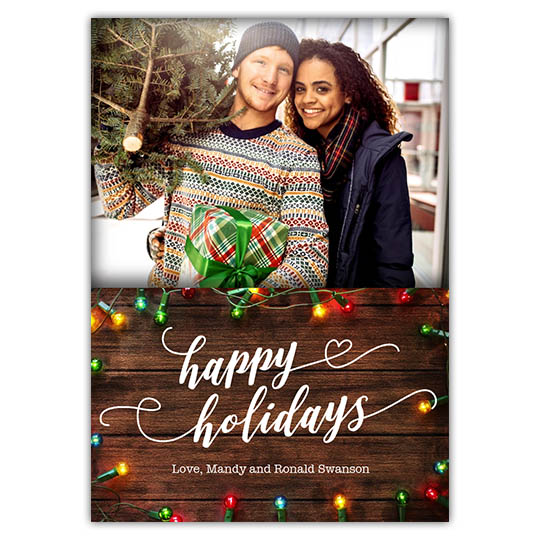 Rustic Lights 5x7 Holiday Christmas Card