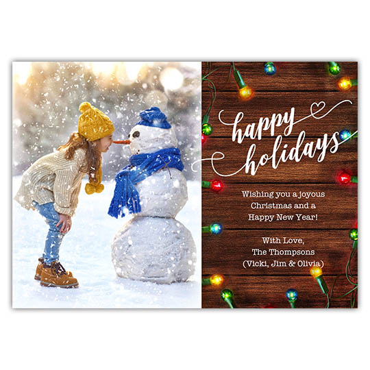 Rustic Lights 7x5 Holiday Christmas Card