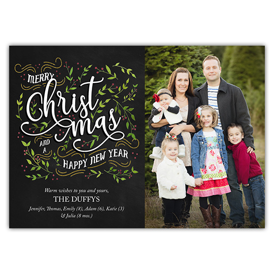 Christmas Foliage 7x5 Holiday Christmas Card