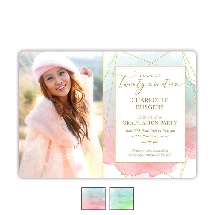Gleaming Watercolor Grad - Focus in Pix Graduation Party Invitation or Announcement