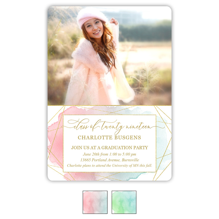 Gleaming Watercolor Grad - Focus in Pix Graduation Party Invitation or Announcement